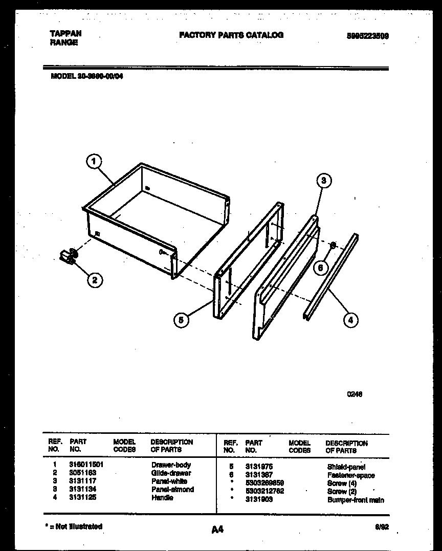 Kitchen Cabinet Drawer Replacements: Tappan 3038602304 Range