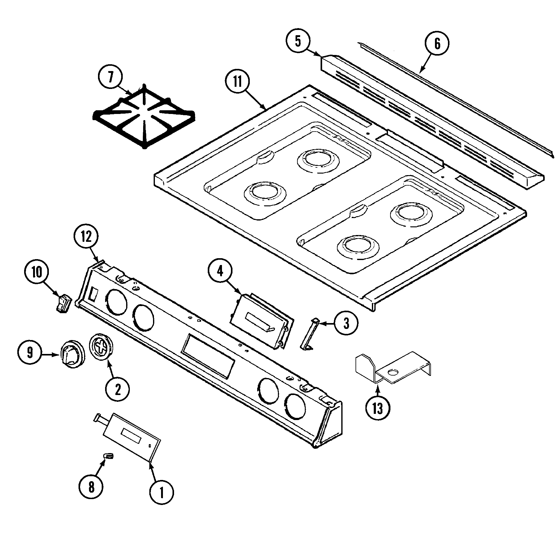 6498vra gas range top assembly parts diagram