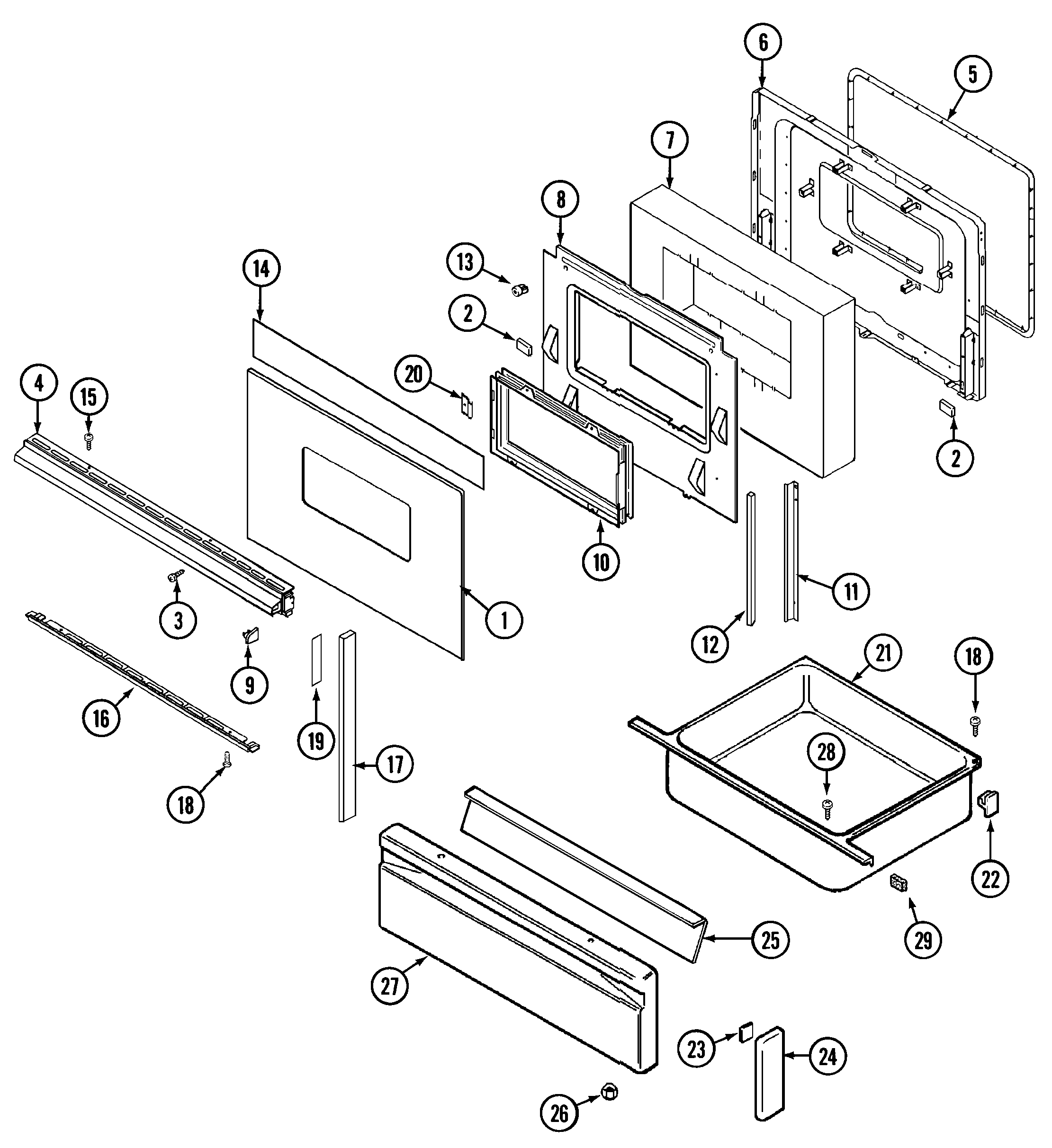 6498vtv gas range door/drawer parts diagram