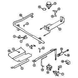 6498VVV Gas Range Gas controls Parts diagram