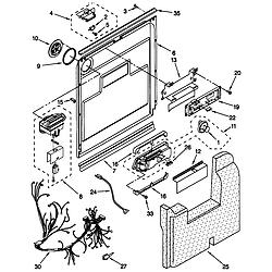 66515982990 Dishwasher Door and latch Parts diagram