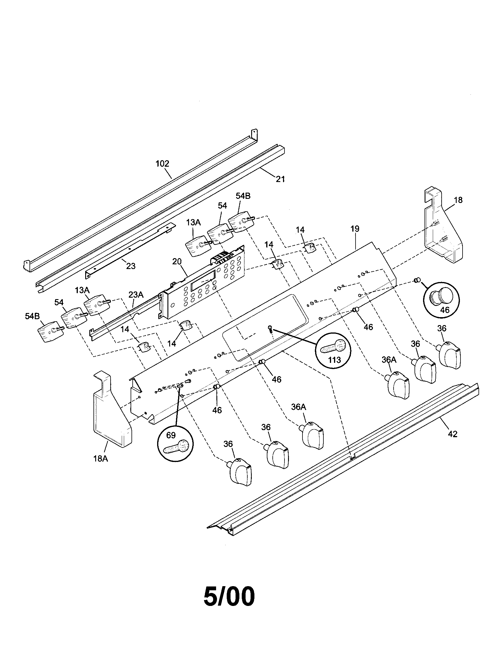 79046802992 elite electric slide-in range backguard parts diagram