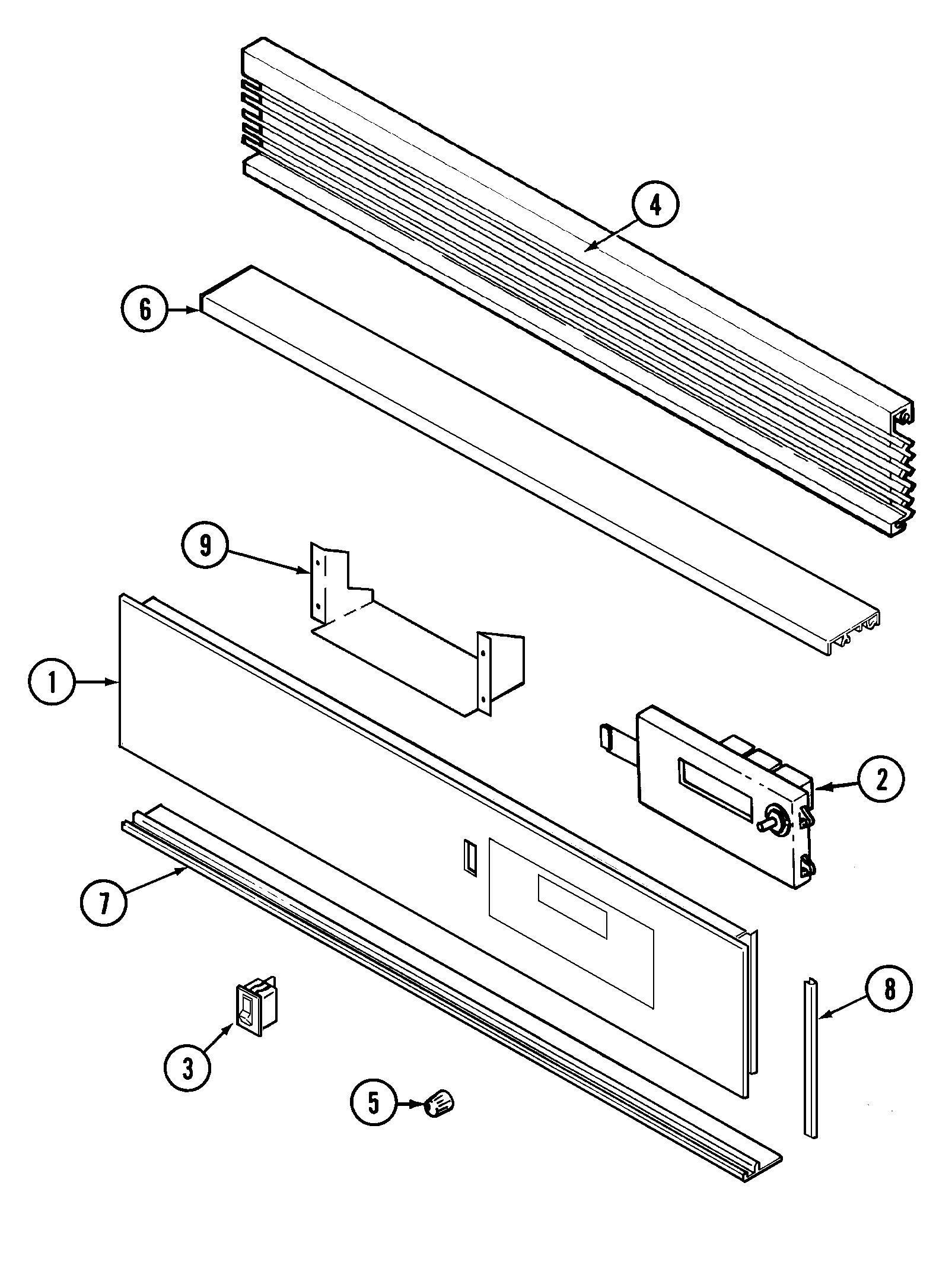 9475xvb range control panel parts diagram