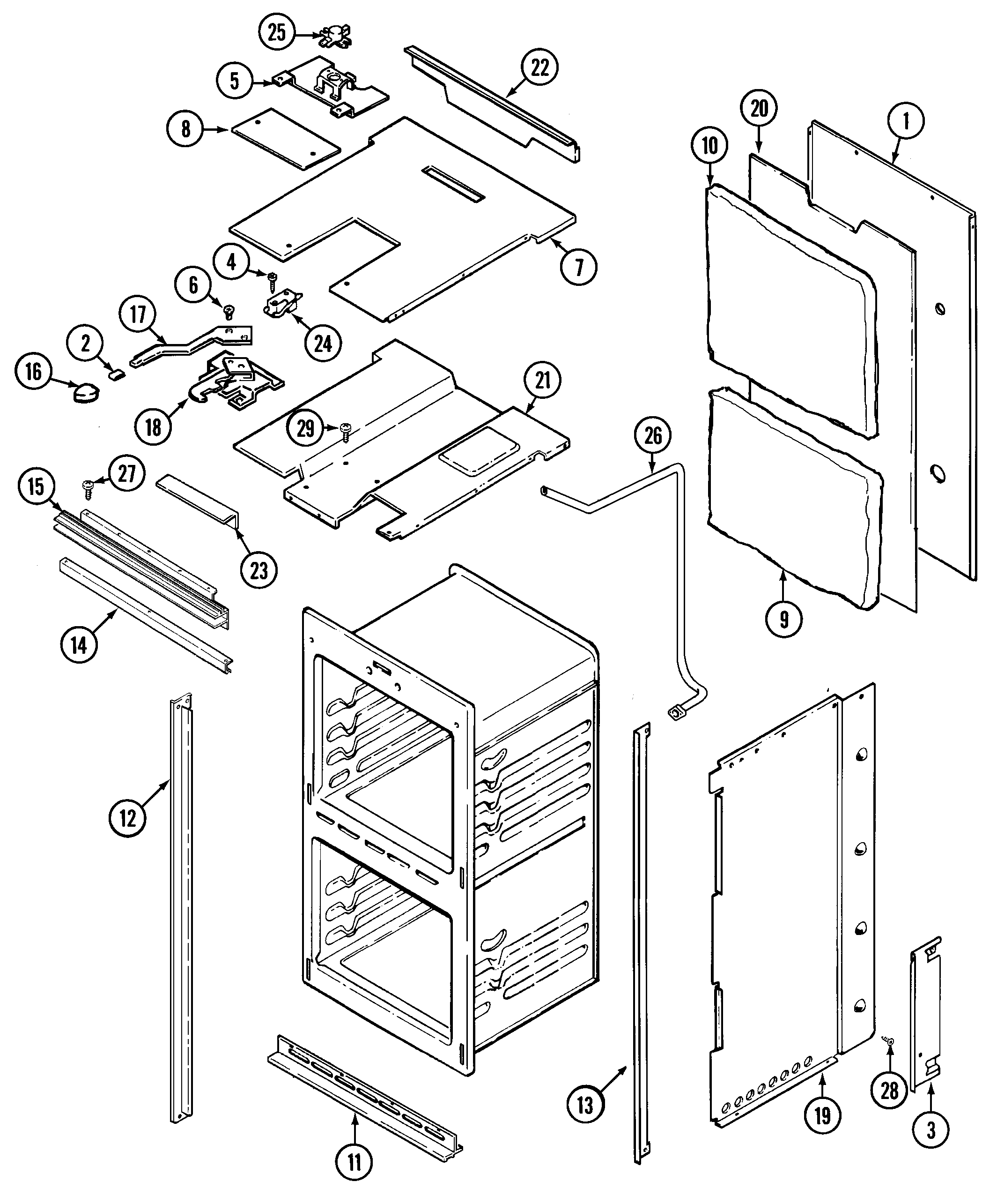 9825VUV Electric Oven Body Parts diagram