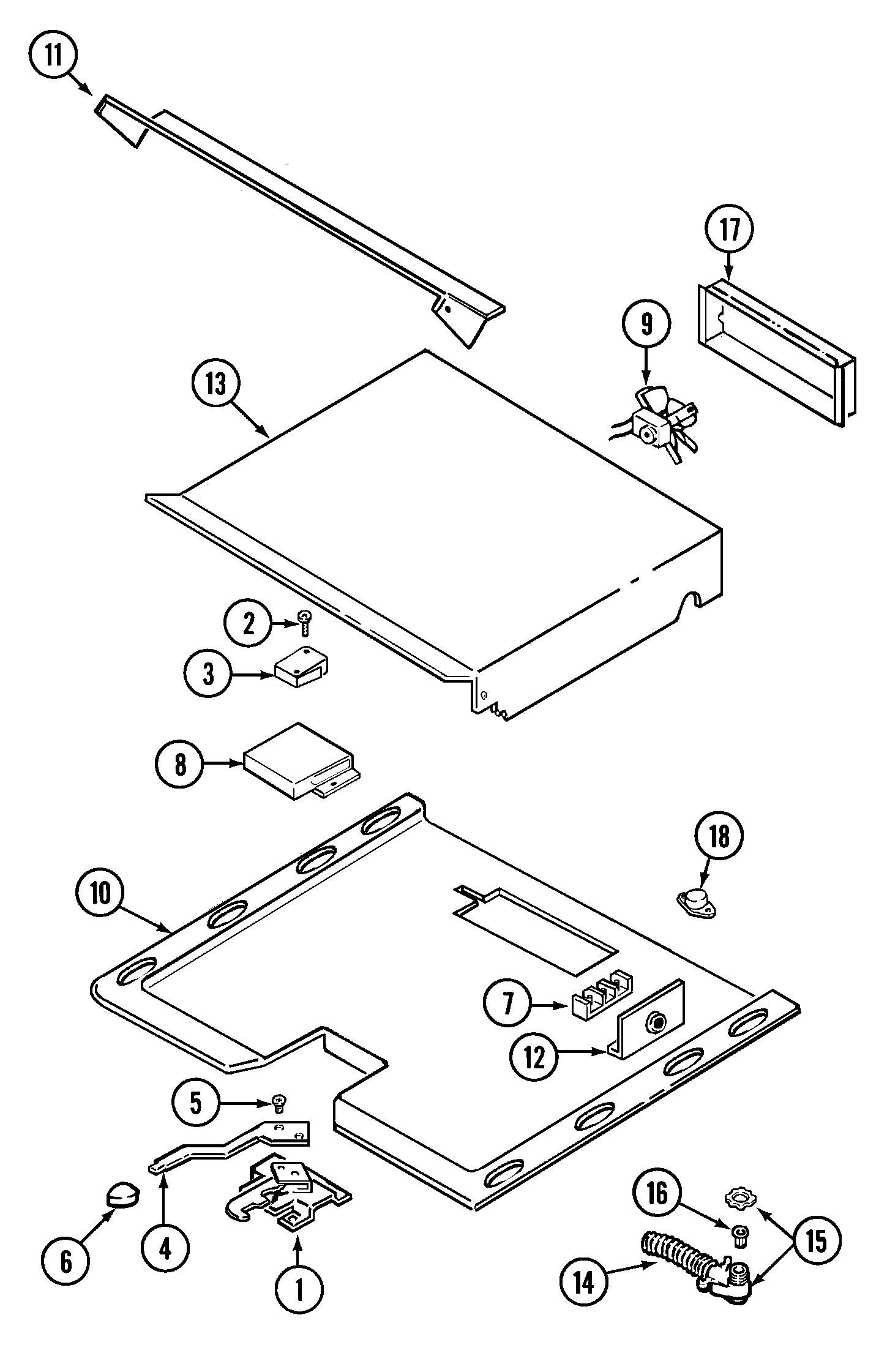 9875VVV Range Internal controls Parts diagram