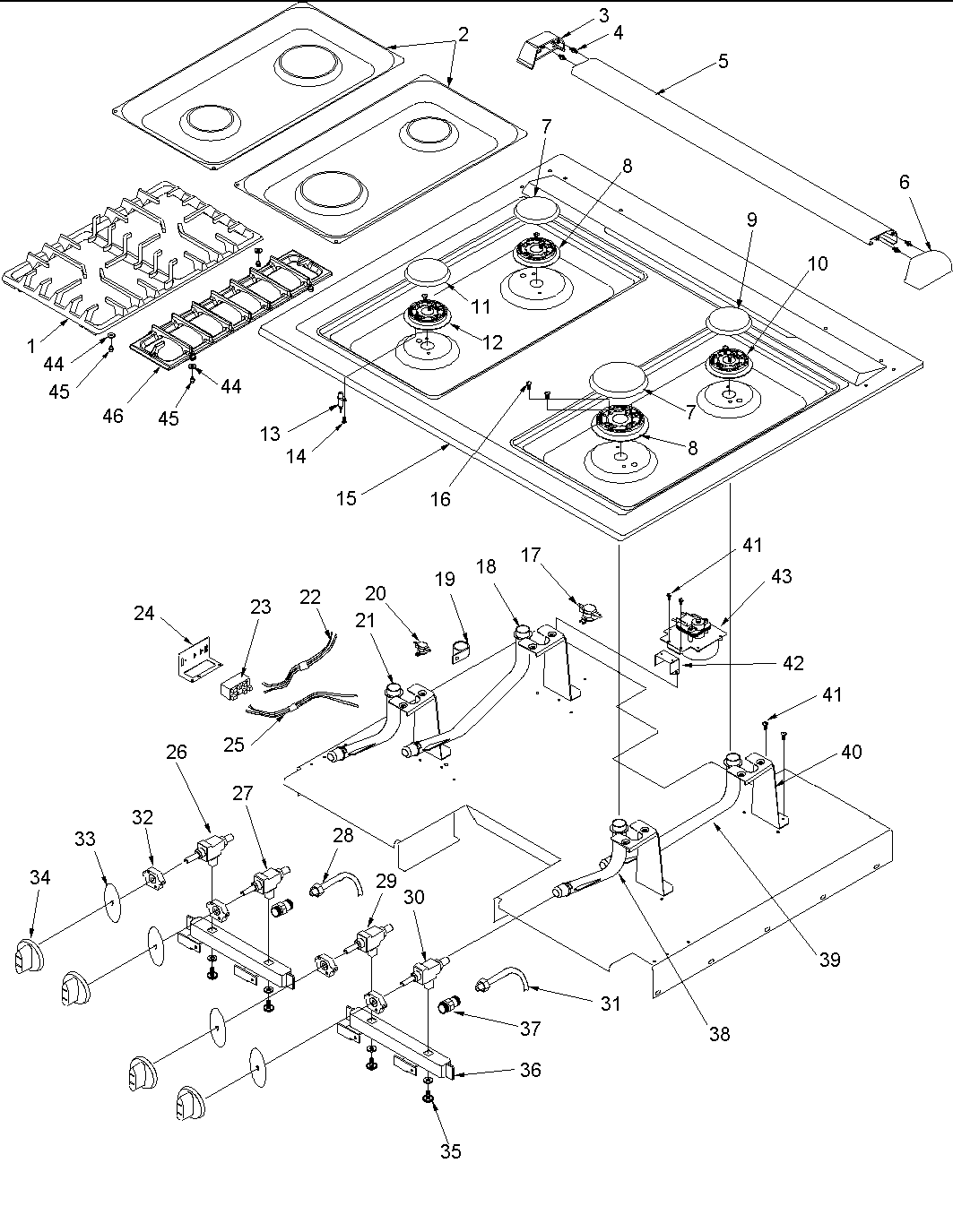 acs3350aw slide-in self cleaning gas range main top parts diagram