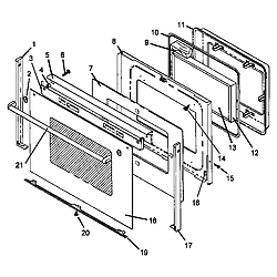 AGS761L Gas Range Oven door assembly Parts diagram