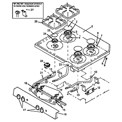 AGS781WW Self Cleaning, Frestanding Gas Range Main top assy Parts diagram