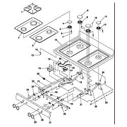 ARG7600LL Gas Range Main top Parts diagram
