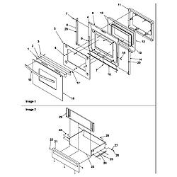 ARG7600LL Gas Range Oven door and storage door Parts diagram