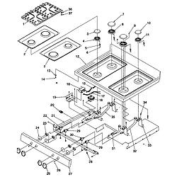 ARG7800 Gas Range Main top Parts diagram