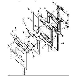 ARG7800LL Gas Range Oven door Parts diagram