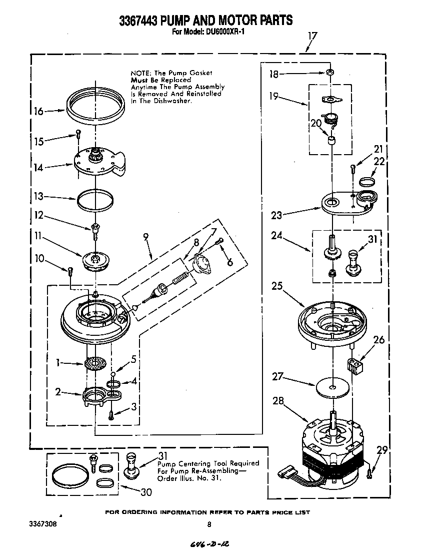 DU6000XR1 Dishwasher 3367443 pump and motor Parts diagram