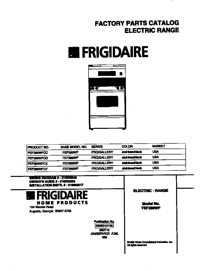 Frigidaire FEF389WFCD Electric Range Timer - Stove Clocks and ...