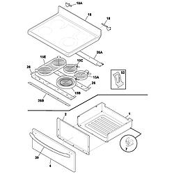 FEFL88ACC Electric Range Top/drawer Parts diagram
