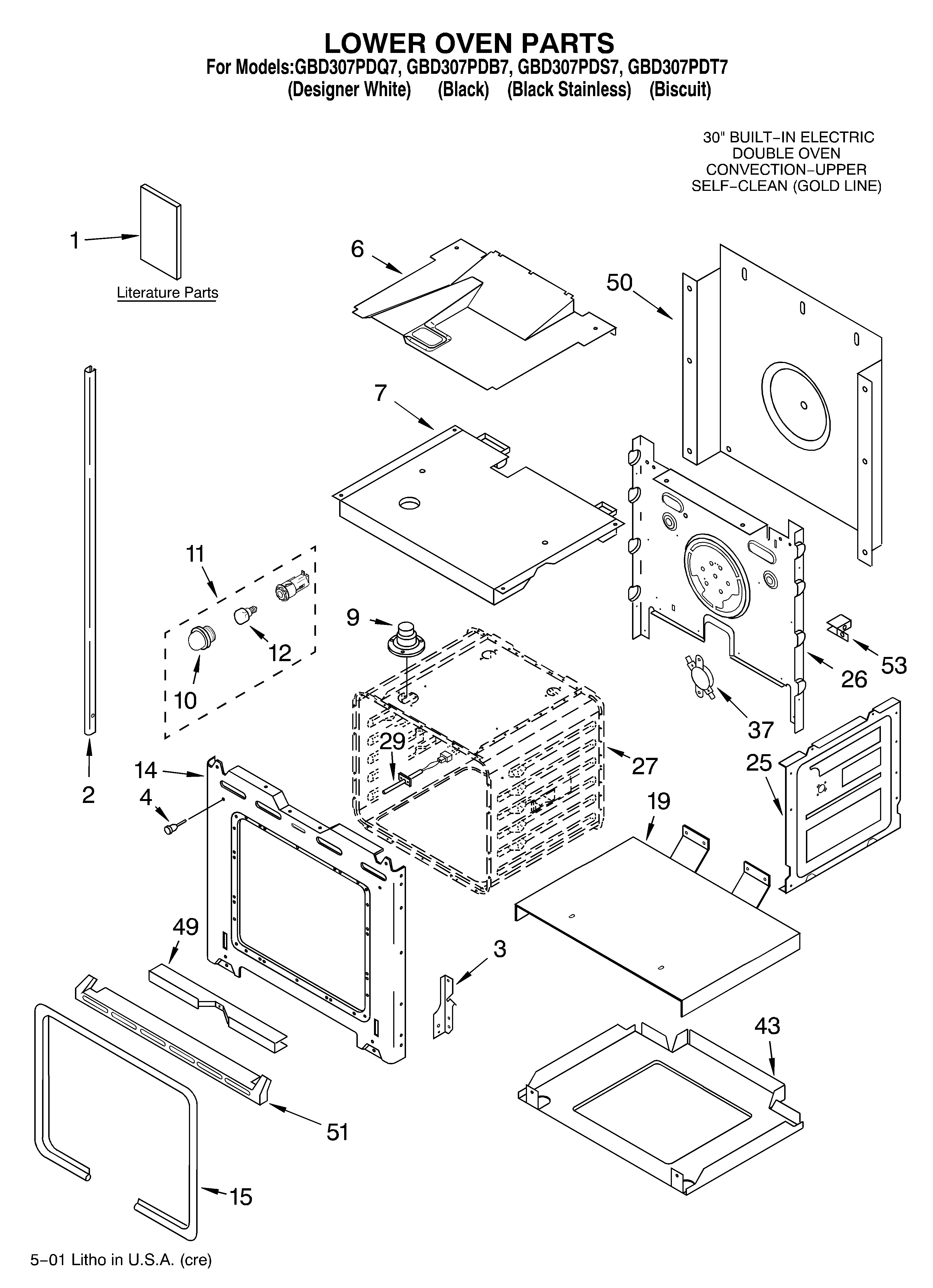 GBD307PDT7 Built-In Electric Oven Lower oven/literature Parts diagram