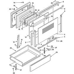 GLP84800 Free Standing Electric Range Door and drawer Parts diagram