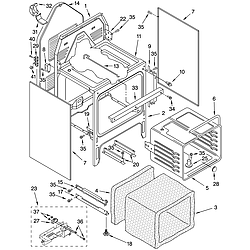 GLP84800 Free Standing Electric Range Oven chassis Parts diagram