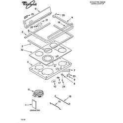 GLP85800 Free Standing Electric Range Cooktop Parts diagram