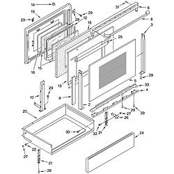 GLP85800 Free Standing Electric Range Door and drawer Parts diagram