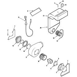 JDS9860AAB Slide-In Dual-Fuel Downdraft Range Blower assembly (plenum) Parts diagram