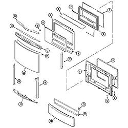 JDS9860AAB Slide-In Dual-Fuel Downdraft Range Door/access panel Parts diagram