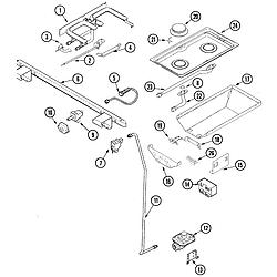 JDS9860AAB Slide-In Dual-Fuel Downdraft Range Gas controls Parts diagram