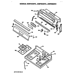 JGBP35GEP4WG Gas Range Control and cooktop Parts diagram