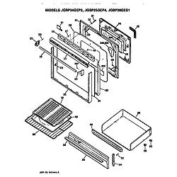 JGBP35GEP4WG Gas Range Door and drawer Parts diagram