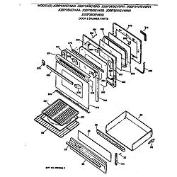 JGBP35WEV4WW Gas Range Door & drawer Parts diagram