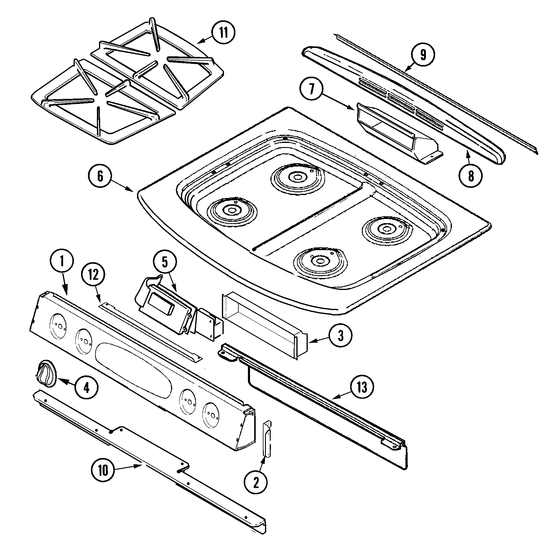JGS8750ADB Slide-In Gas Range Top assembly Parts diagram
