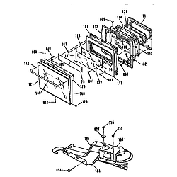 JKP45WP3WG Electric Wall Oven Door and lock Parts diagram
