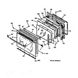 JTP14WT1WW Electric Oven Oven door Parts diagram