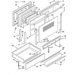 KERC607HBS4 Electric Freestanding Range Door and drawer Parts diagram