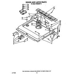 KUDM220T0 Dishwasher Door and latch Parts diagram