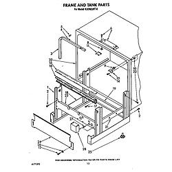 KUDM220T0 Dishwasher Frame and tank Parts diagram