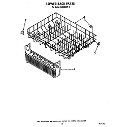 KUDM220T0 Dishwasher Lower rack Parts diagram