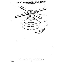 KUDM220T0 Dishwasher Lower washarm and strainer Parts diagram