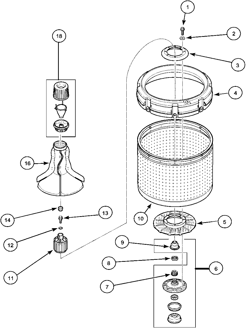 LWA40AW2 Top Loading Washer Agitator, drive bell and wash tub Parts diagram