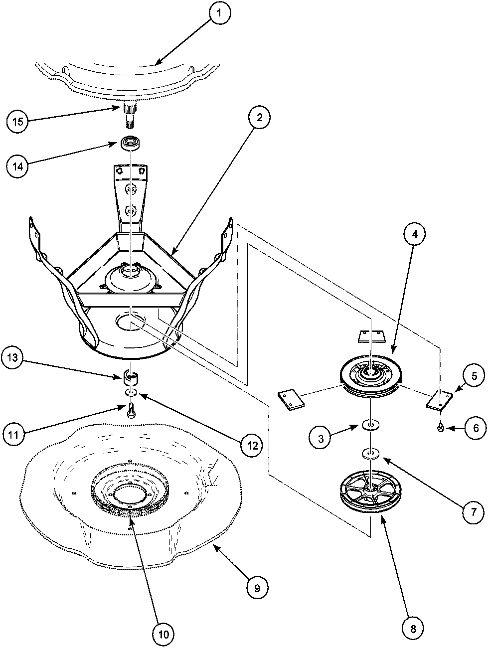 LWA40AW2 Top Loading Washer Weldment/bearing assy and brake/pulley Parts  diagram