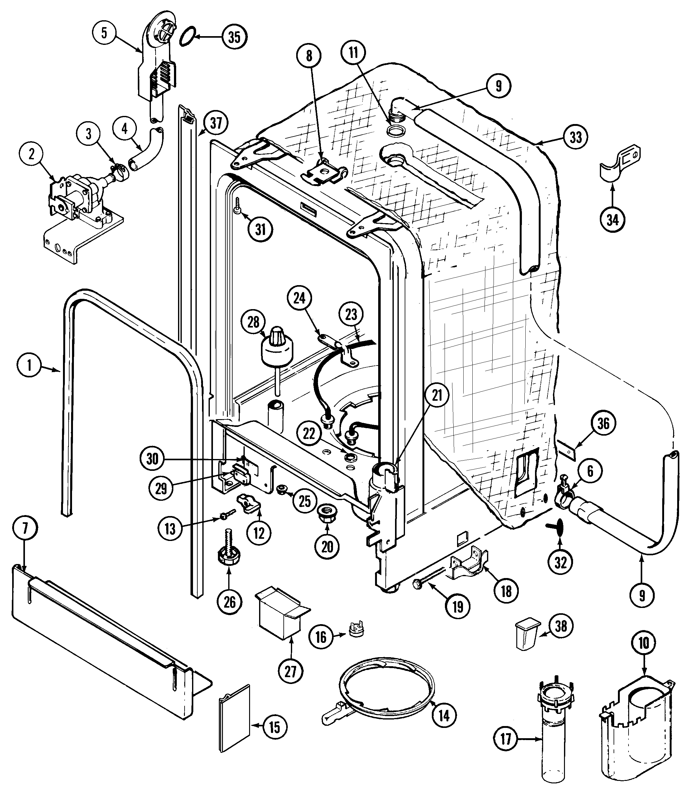 MDB6000AWA Dishwasher Tub Parts diagram