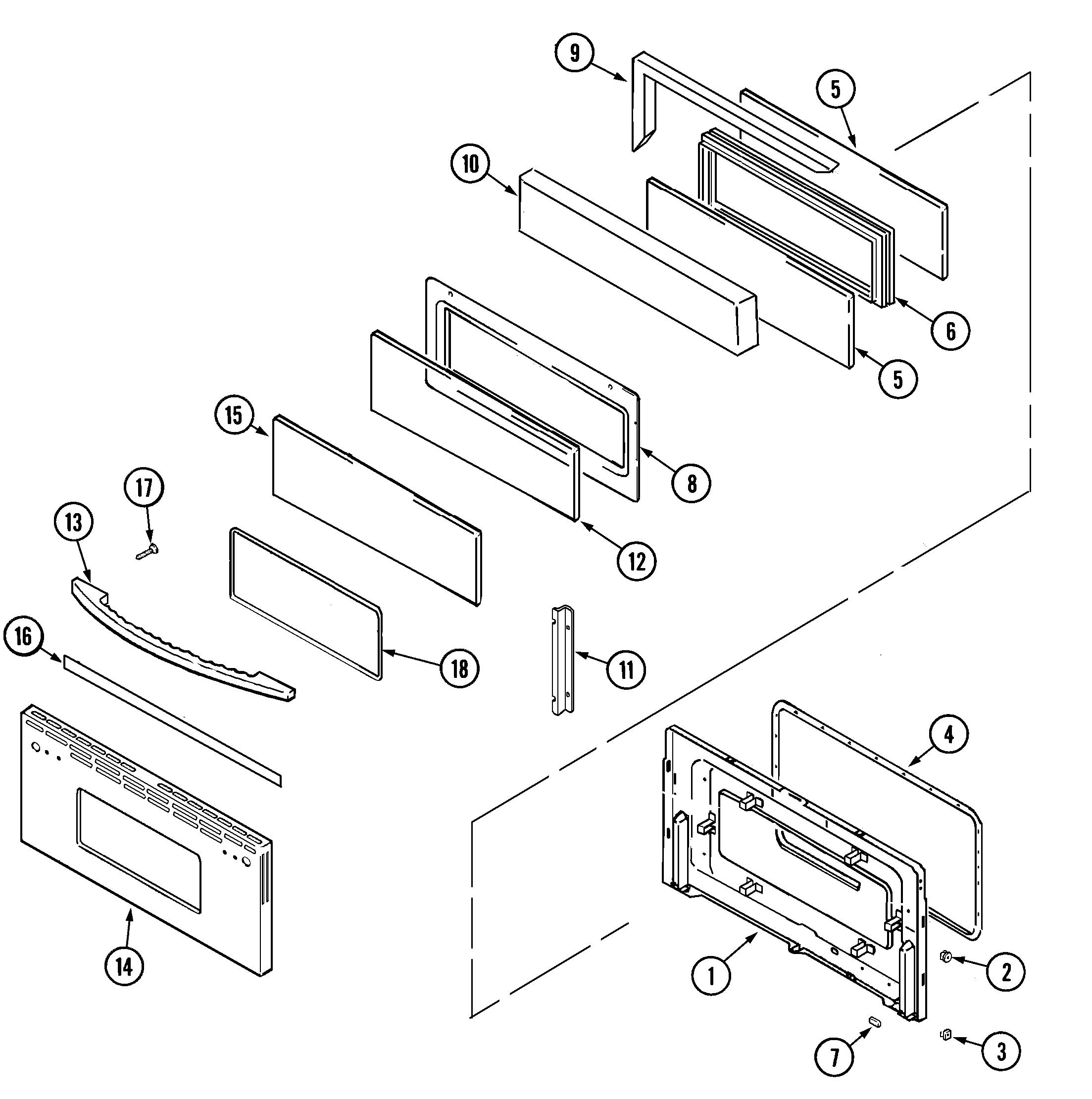 MER6772BAS Range Door (upper-bac/bas) Parts diagram