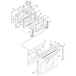 PGLEF385CB1 Electric Range Door Parts diagram
