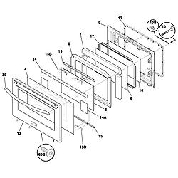 PLEF398CCC Electric Range Door Parts diagram