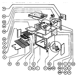 RDFS30QW Range Main oven assembly Parts diagram