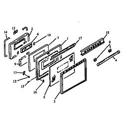 RSK3700UWW Gas Range Oven door assembly Parts diagram