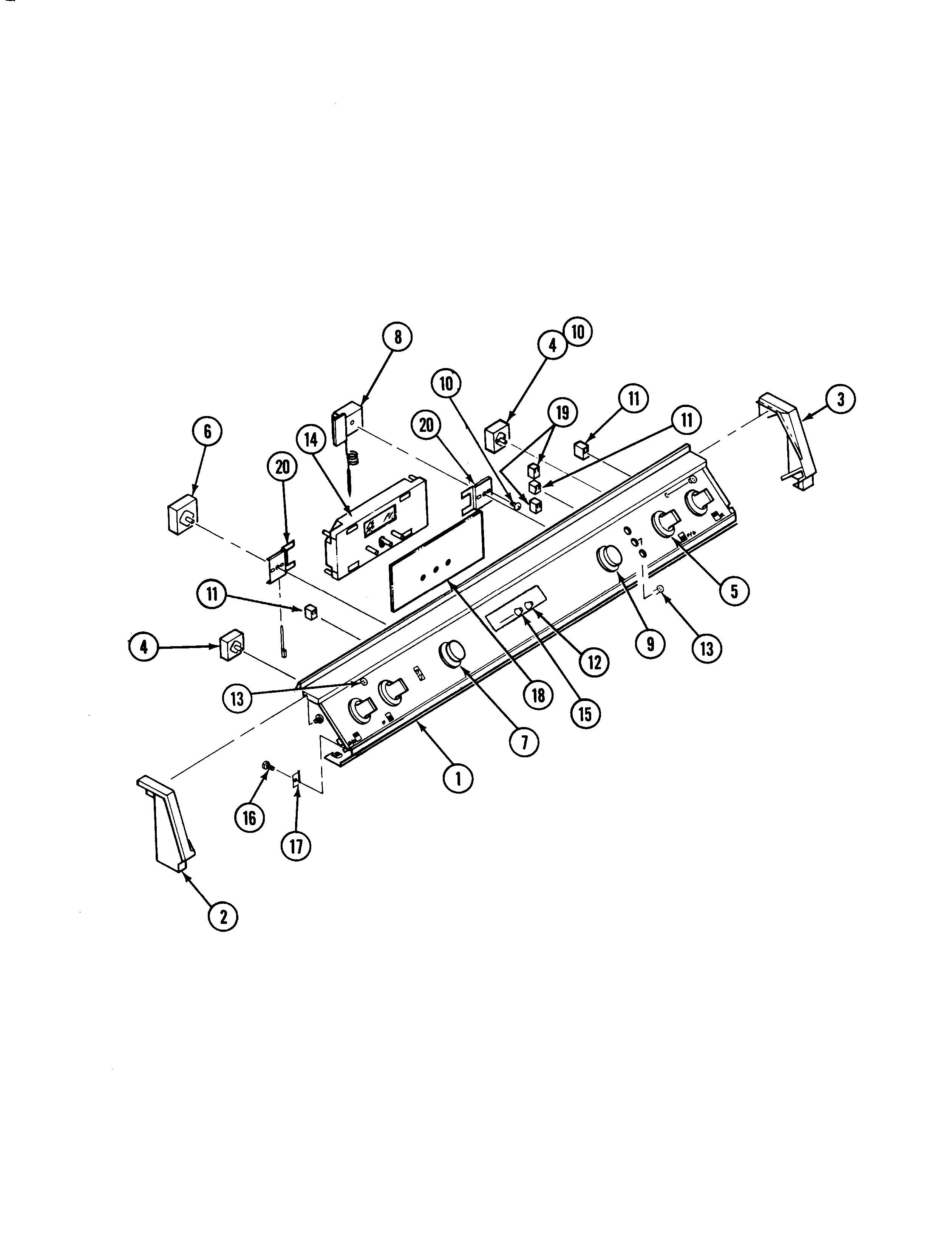 s136c range control panel parts diagram
