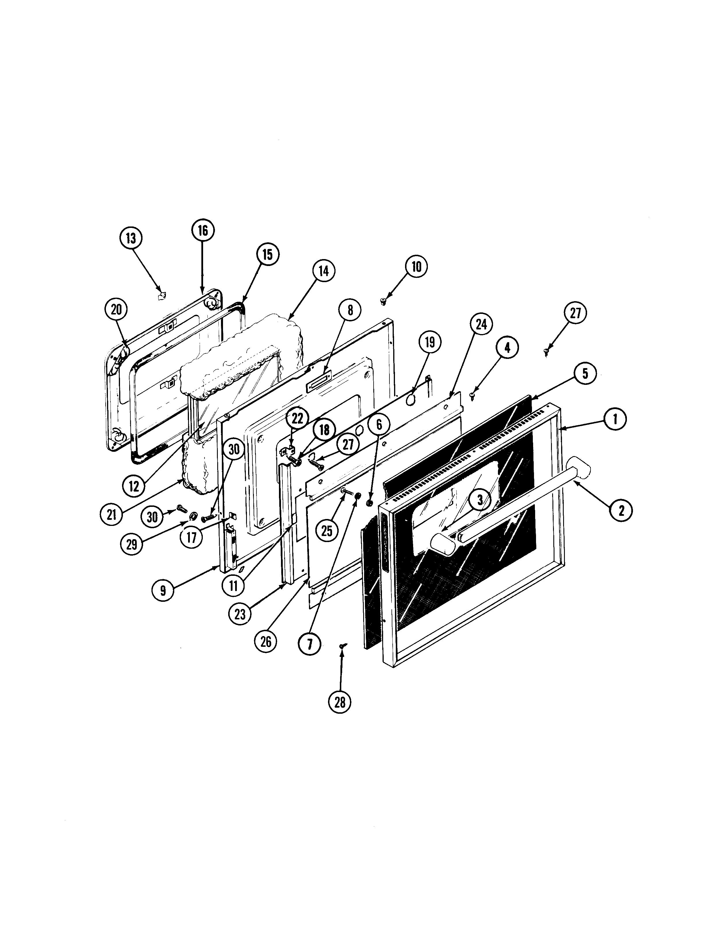 S136C Range Door Parts diagram