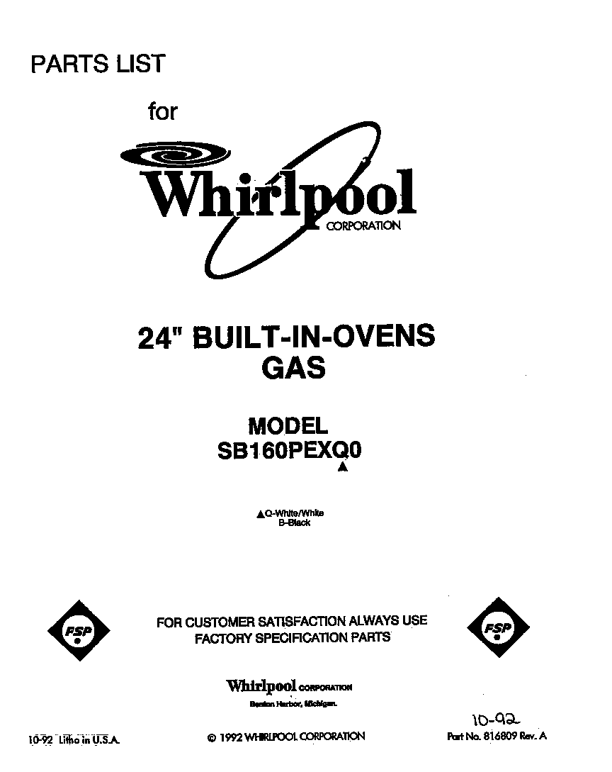 whirlpool sb160pexb1 built in gas oven timer