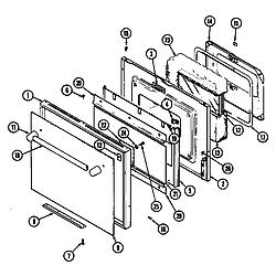 SEG196 Slide-In Range Door (wht) (seg196w) (seg196w-c) Parts diagram